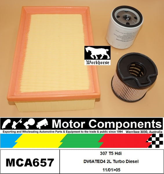 FILTER SERVICE KIT for Peugeot 307 T5 Hdi DV6ATED4 2L Turbo Diesel 11/01>05