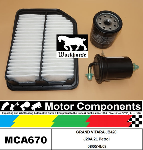 FILTER SERVICE KIT for SUZUKI GRAND VITARA JB420 J20A 2L Petrol 08/05>09/08