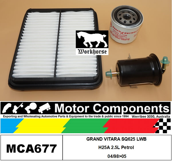 FILTER SERVICE KIT for SUZUKI GRAND VITARA SQ625 LWB H25A 2.5L Petrol 04/98>05