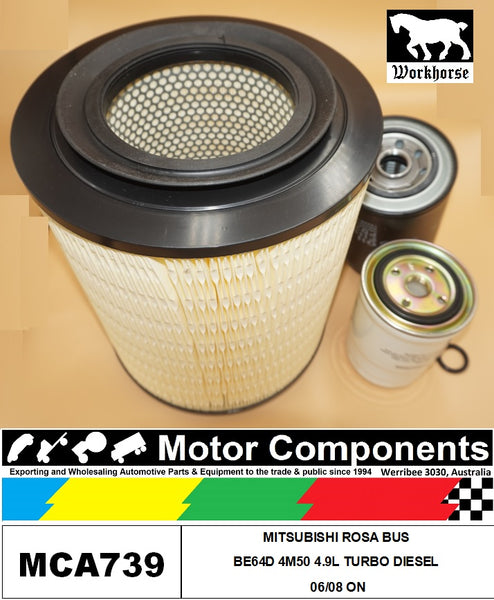 FILTER SERVICE KIT for MITSUBISHI ROSA BUS BE64D 4M50 4.9L TURBO DIESEL 06/08 ON