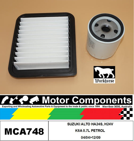 FILTER SERVICE KIT for SUZUKI ALTO HA24S H24V K6A 0.7L PETROL 04/04>12/09