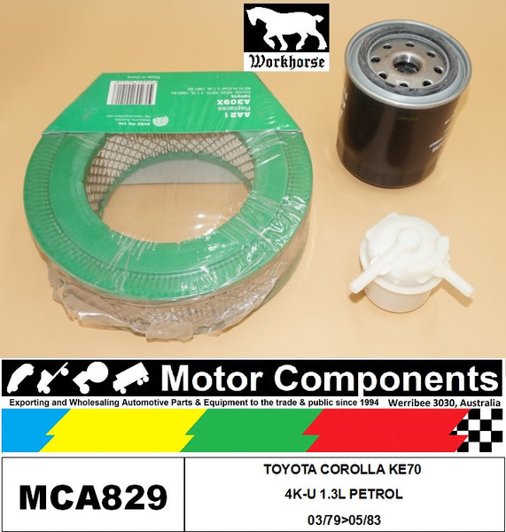 FILTER SERVICE KIT FOR TOYOTA COROLLA KE70 4K-U 1.3L PETROL 03/79>05/83