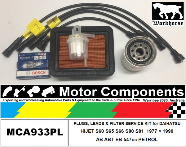 LEADS SPARK PLUG & FILTER KIT for DAIHATSU HIJET S60 S65 S66 S80 S81 AB EB 547cc 1977>1990