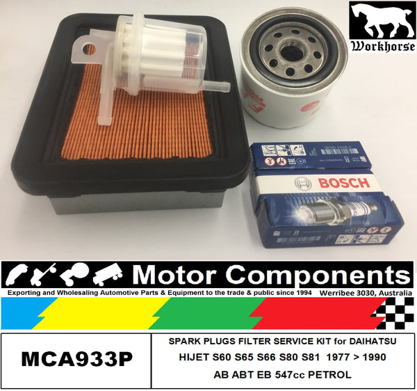 SPARK PLUG & FILTER KIT for DAIHATSU HIJET S60 S65 S66 S80 S81 AB EB 547cc 1977>1990