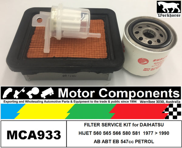 FILTER KIT for DAIHATSU HIJET S60 S65 S66 S80 S81 AB EB 547cc 1977>1990