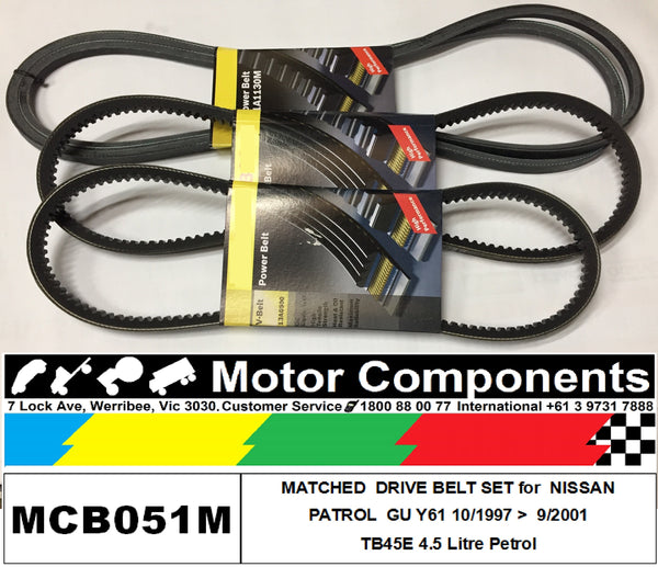 FAN V BELT SET for NISSAN PATROL GU Y61 TB45E 4.5L PETROL 8/97 > 9/2001