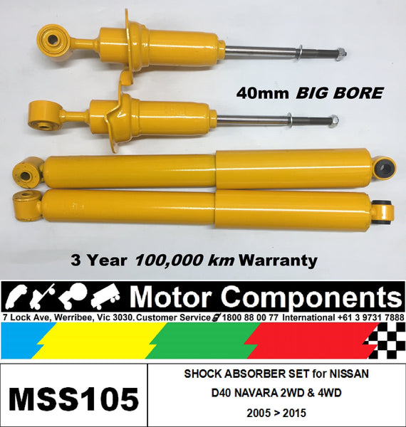 SHOCK ABSORBER SET for NISSAN NAVARA D40 HEAVY DUTY BIG BORE
