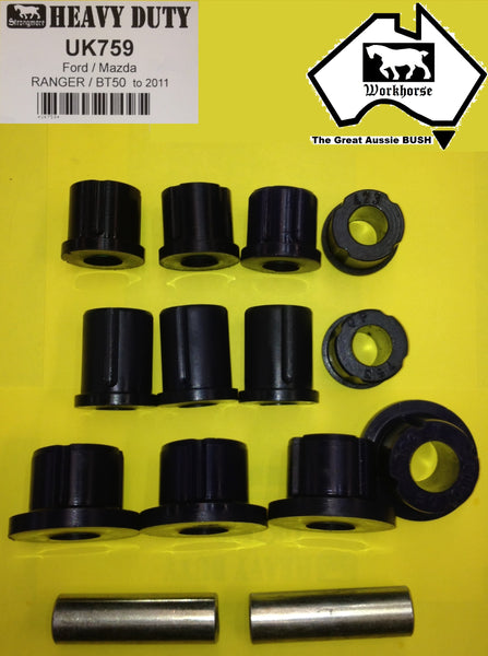 SPRING SHACKLE BUSH KIT REAR for FORD RANGER PJ-PK 2WD 4WD 11/06 > 10/2011