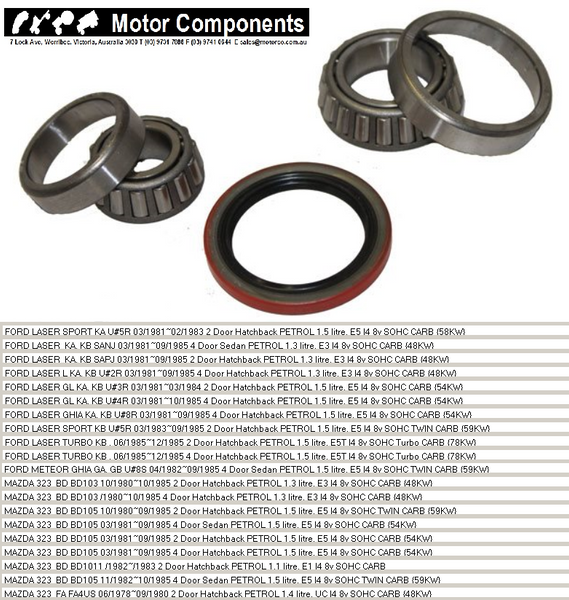 WHEEL BEARING KIT REAR for FORD LASER KA KB 81> 1985 MAZDA 323 81>1984