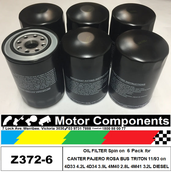 OIL FILTER 6 PACK Z372 for Mitsubishi 4M40 2.8L 4M41 3.2L 4D33 4.2L 4D34 3.9L