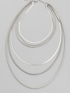 Layered Necklace Silver