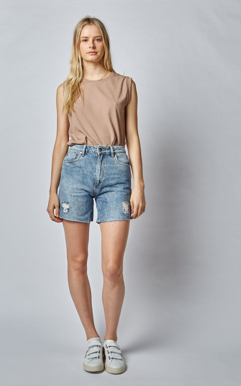 90'S FADE OUT HIGH WAISTED SHORTS