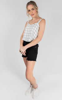 CAMI CHECK LINEN TOP