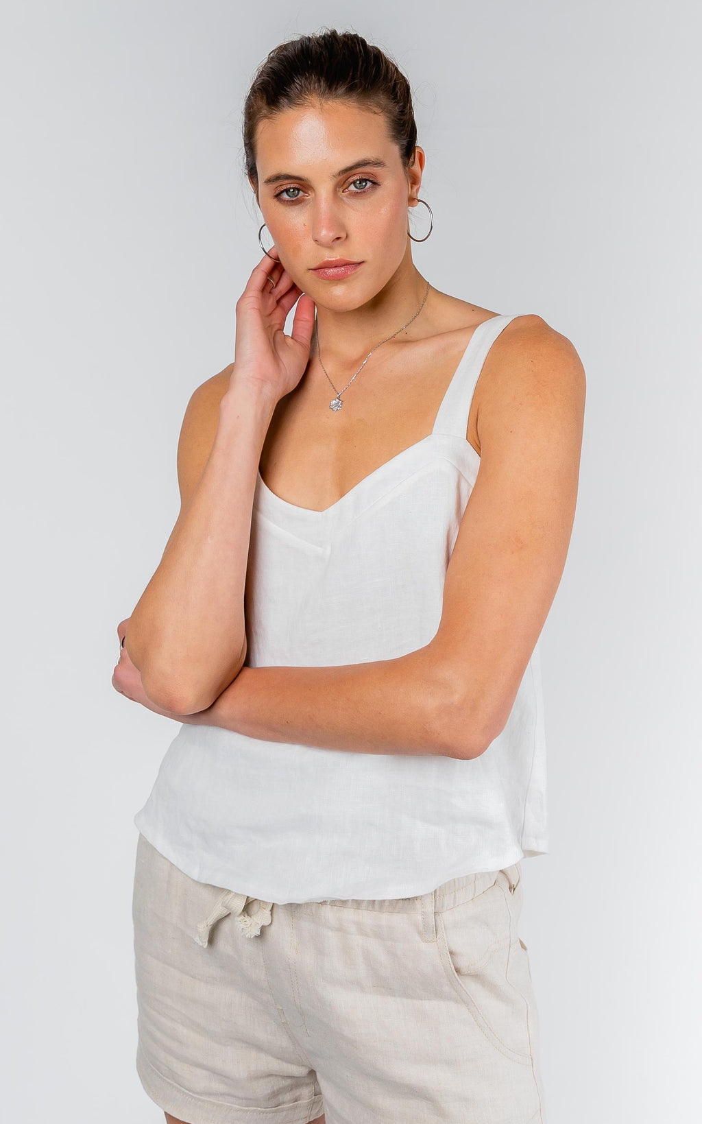 CAMI WHITE LINEN TOP