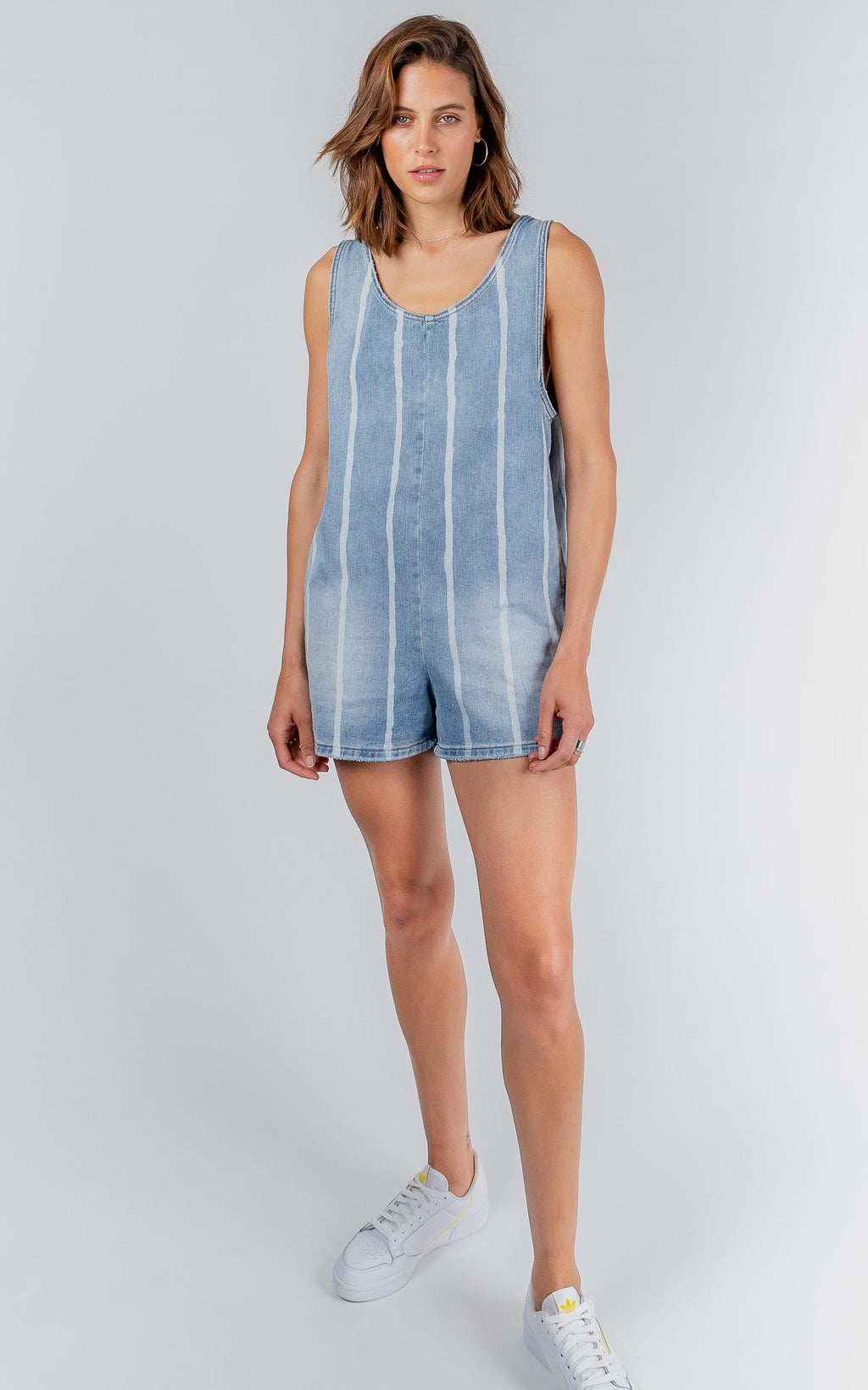 DROPPIE STRIPE DENIM PLAYSUIT