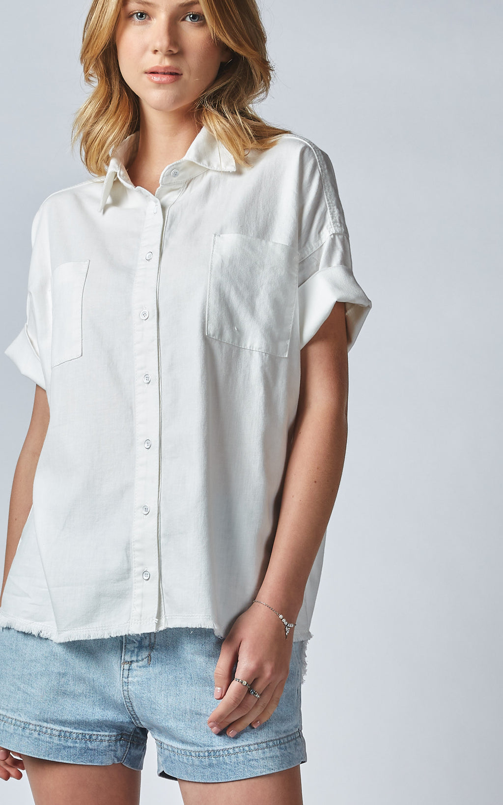 KATKA WHITE LINEN DENIM SHIRT