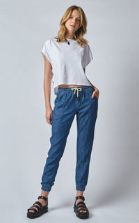 LOUNGER BLUR BLUE LINEN DENIM JOGG JEANS