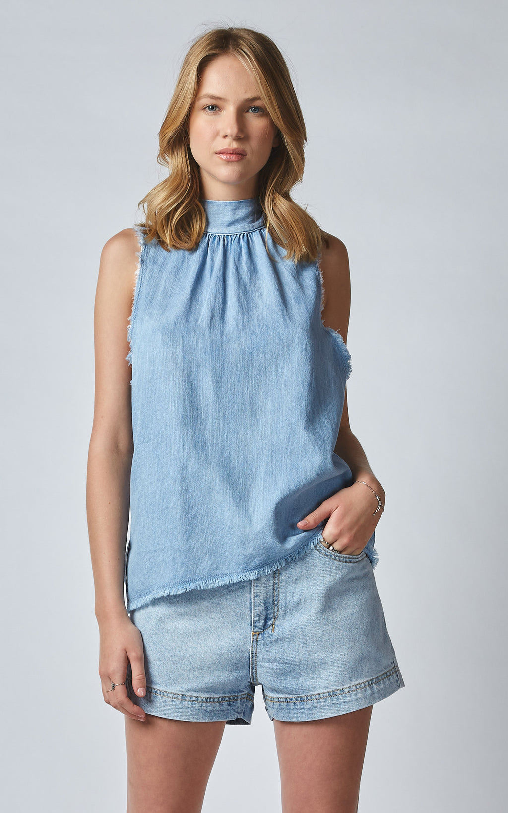 OLIANA LINEN DENIM NECK TIE TANK