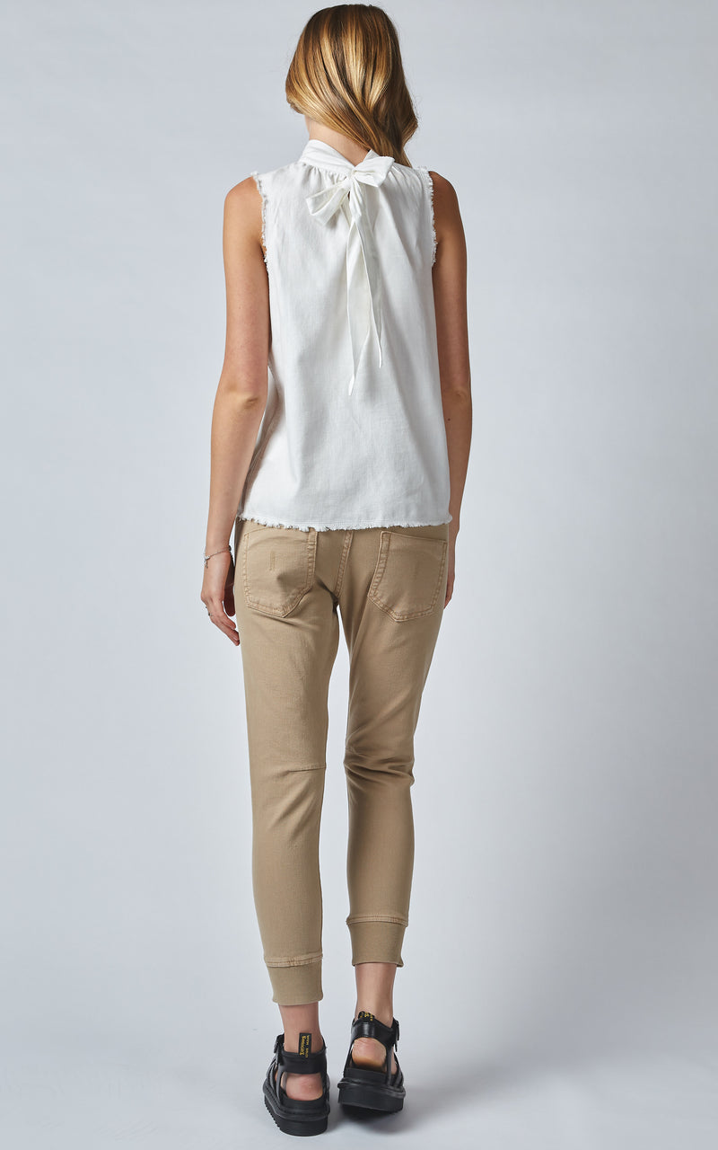 OLIANA WHITE LINEN DENIM NECK TIE TANK