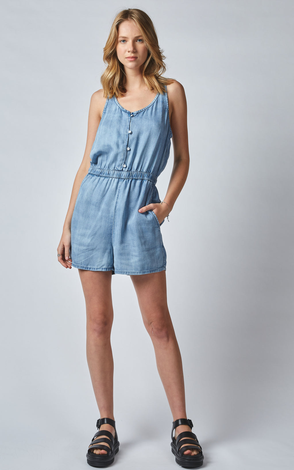 RAENI SPORTY TENCEL DENIM ROMPER