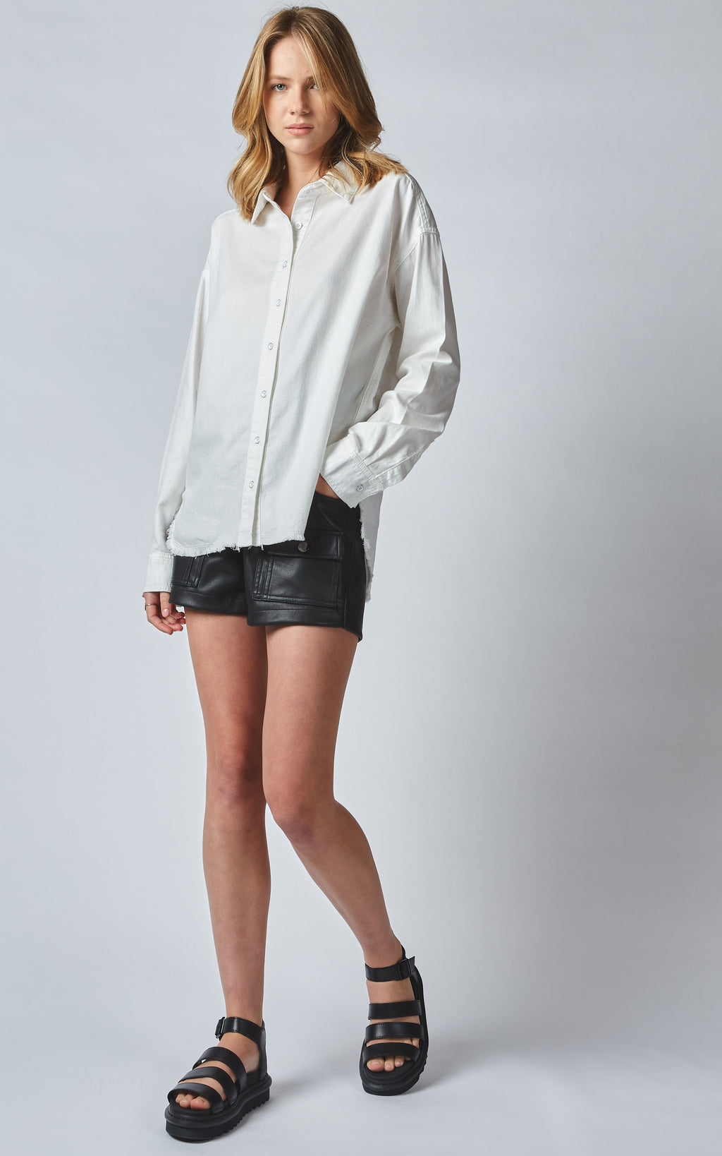 TAHITI WHITE LINEN DENIM SHIRT
