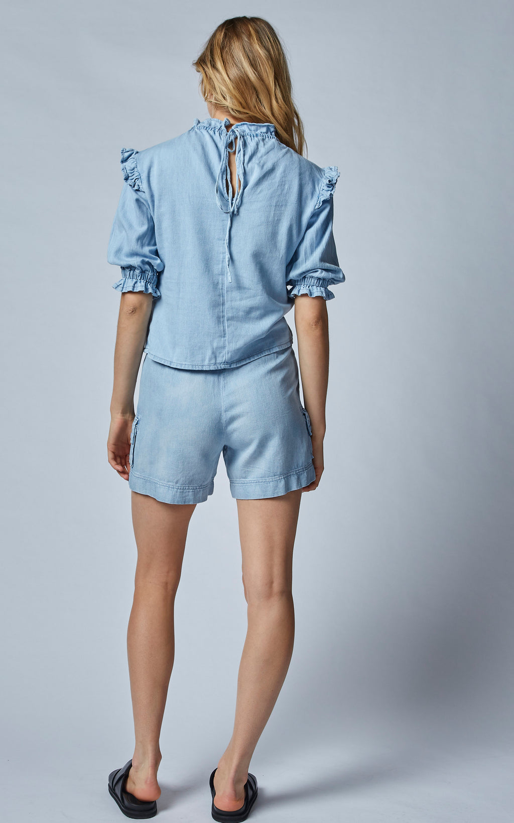 TOMCAT BLUE HIGH WAISTED LINEN DENIM SHORTS