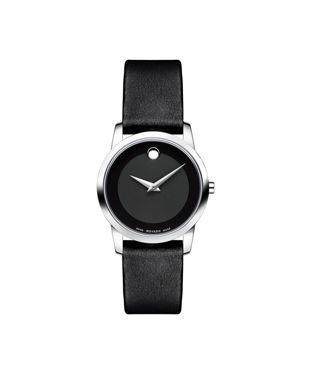 Movado Museum Dial silver tone case on Black Leather strap 28mm 0606503