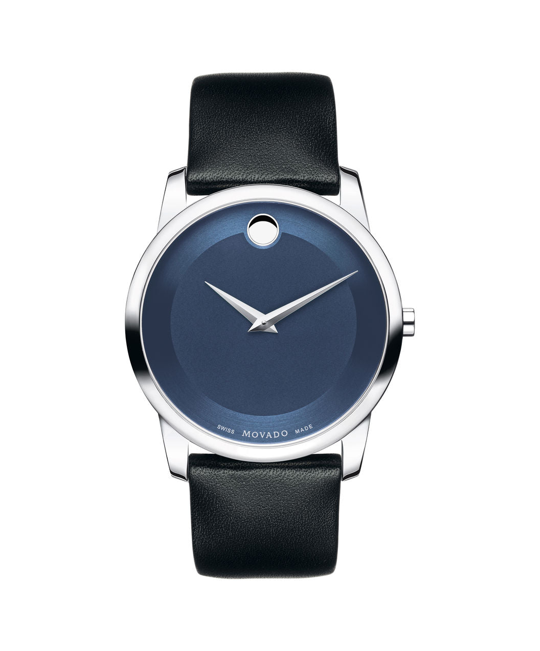 Movado Museum Blue dial Silver tone case on Black Leather strap 40mm 0606610