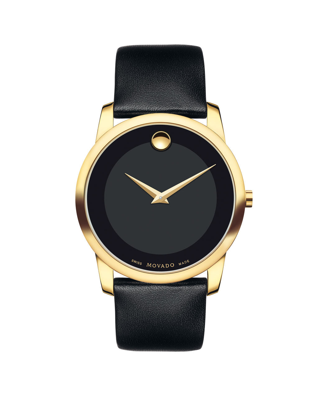 Movado Museum Dial Gold tone case on Black Leather strap 40mm 0606876