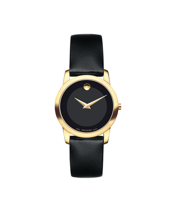 Movado Museum Dial Gold tone case on Black Leather strap 28mm 0606877