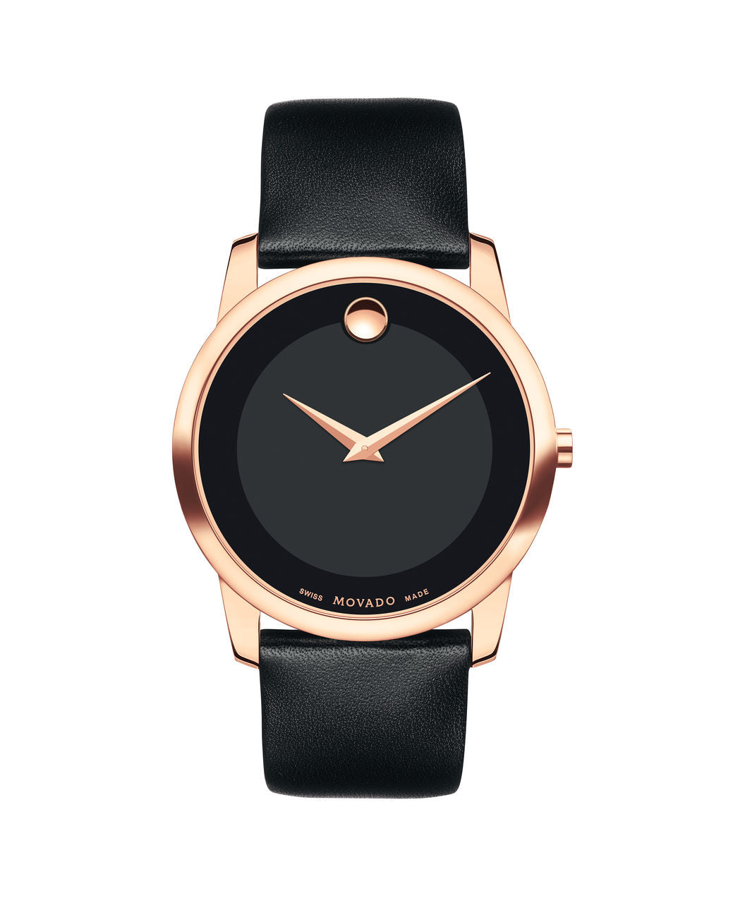 Movado Museum Dial Rose tone case on Black Leather strap 40mm 0607078