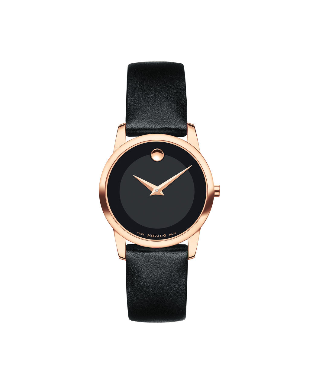 Movado Museum Dial Rose tone case on Black Leather strap 28mm 0607079