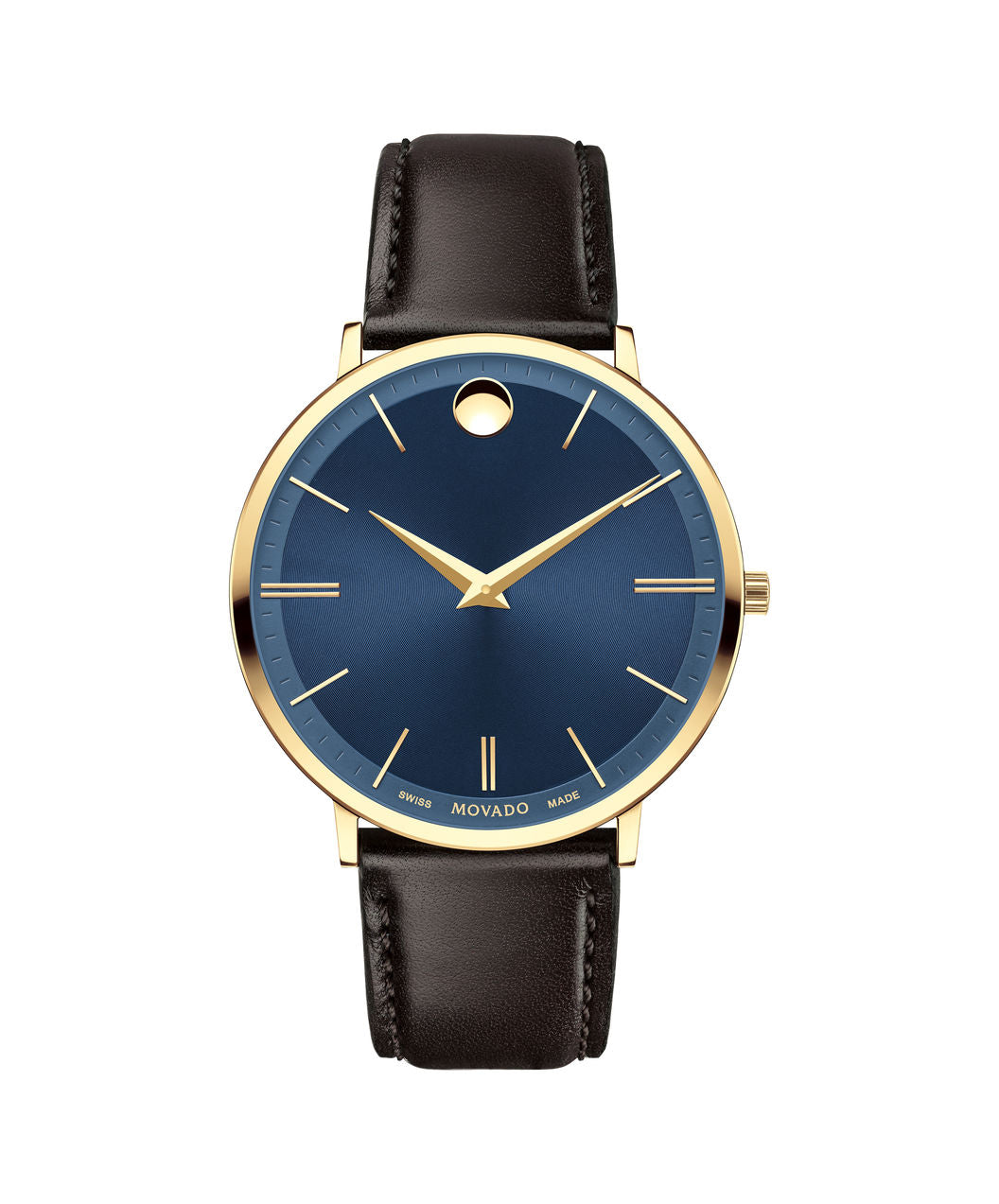 Movado Ultra slim Roman numeral Blue DIal with Brown Band 0607088