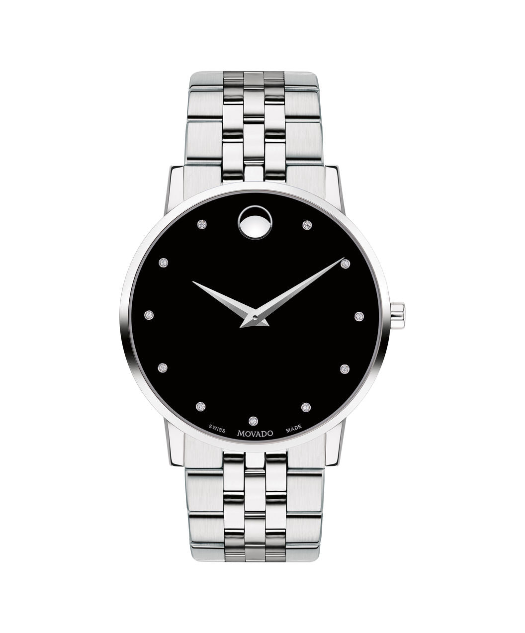 Movado Museum Classic Mens Stainless Steel 0607201 Diamond Dial