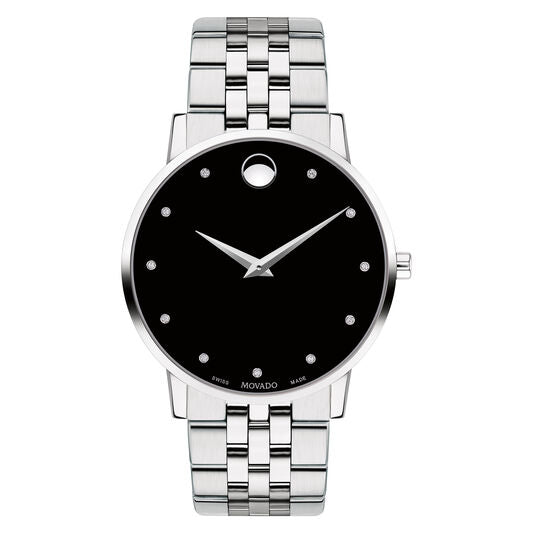 Movado Museum Classic Men's 40mm Diamond and Stainless Steel 0607201