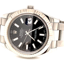 Rolex 116334 Datejust II 18k White Gold Fluted Bezel Black Stick Index