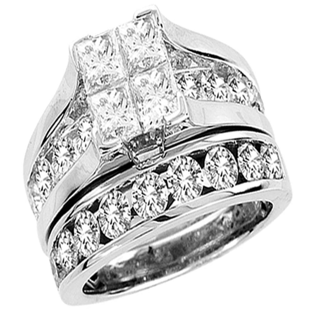 14k white gold 1.00ctw princess cut engagement ring set bridge under water