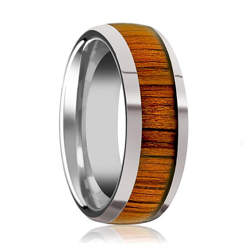Tungsten Wood Ring - Koa Wood Inlay - Tungsten Wedding Band - Polished Finish - 8mm - Tungsten Wedding Ring - AydinsJewelry