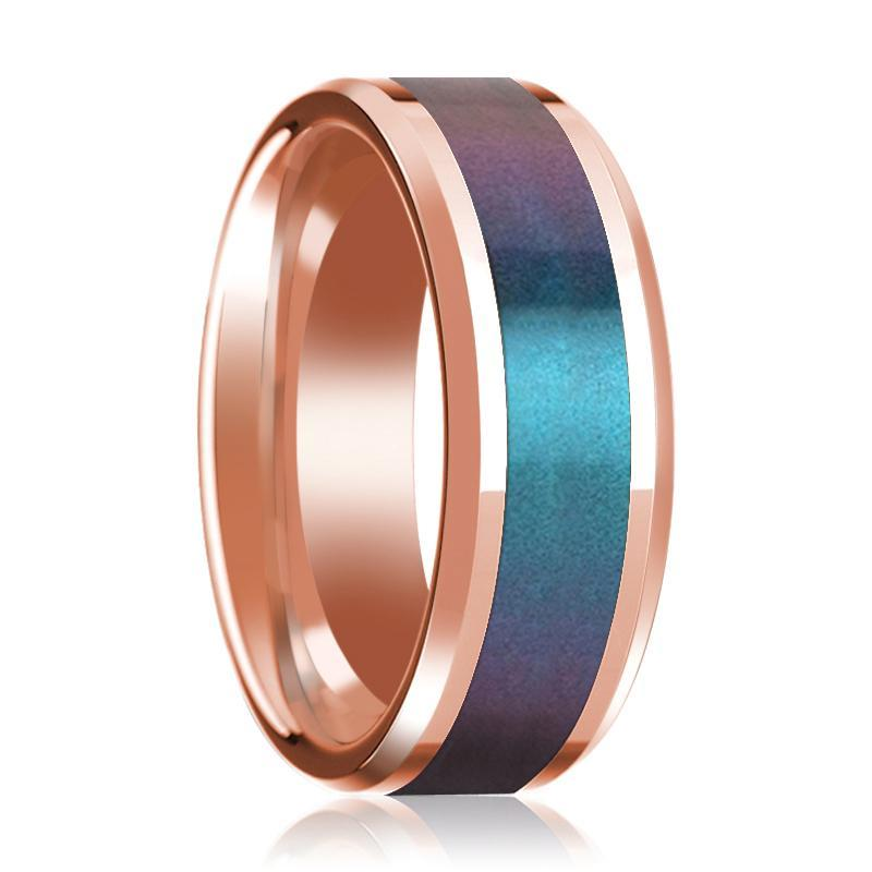 Mens Wedding Band 14K Rose Gold with Blue and Purple Color Changing Inlaid Beveled Edge Polished Ring