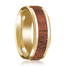 14K Yellow Gold Wedding Band with Orange Goldstone Inlay Beveled Edge Polished Design - AydinsJewelry
