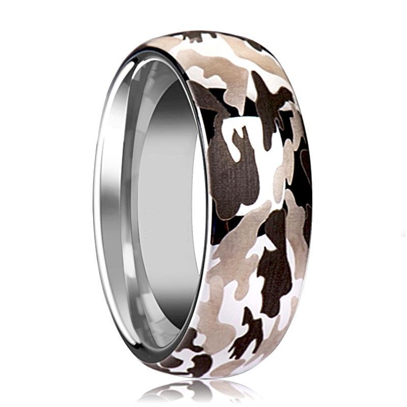 Tungsten Camo Ring - Black and Gray Camo  - Tungsten Wedding Band - Domed - Polished Finish - 6mm - 8mm - 10mm - Tungsten Wedding Ring - AydinsJewelry