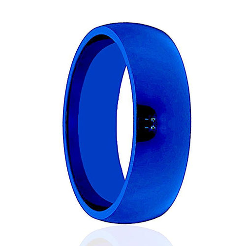 LIGHTNING Blue Polished Tungsten Wedding Band