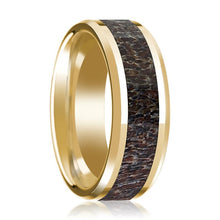 14K Yellow Gold Wedding Ring Dark Deer Antler Inlay Beveled Edge and Polished - AydinsJewelry