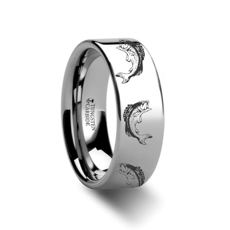 Sea Pattern - Bass Fish Jumping - Sea Print Ring - Laser Engraved - Flat Tungsten Ring - 4mm - 6mm - 8mm - 10mm - 12mm - AydinsJewelry