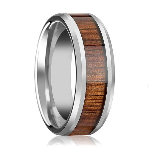 Tungsten Wood Ring - Koa Wood - Tungsten Wedding Band - Polished Finish - 4mm - 6mm - 8mm - 10mm - 12mm - Tungsten Wedding Ring - AydinsJewelry