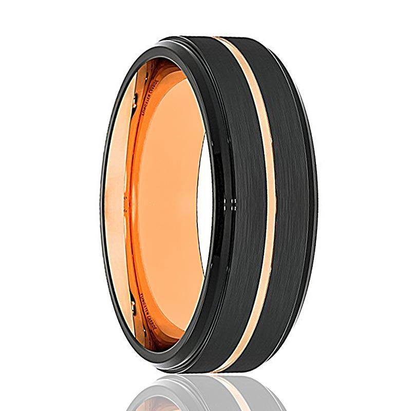 AZTAR Black Tungsten with Rose Gold Groove Stepped Edge - AydinsJewelry
