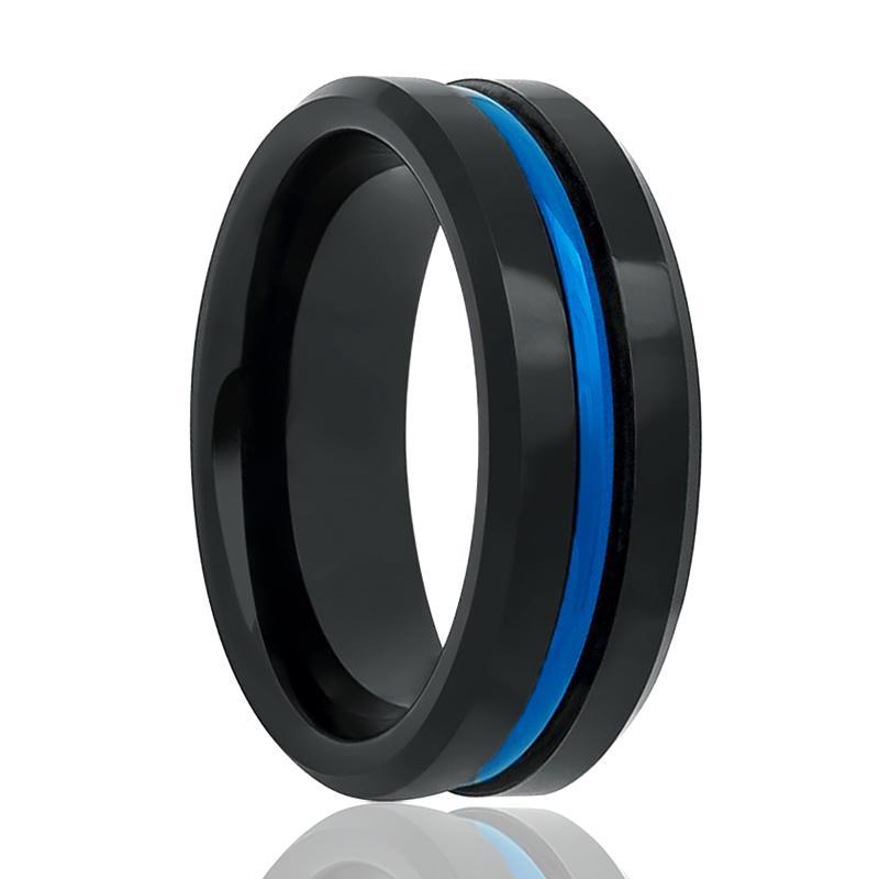 Aydins High Polished Tungsten Mens Wedding Band Black w/ Blue Groove 8mm Tungsten Carbide Ring - AydinsJewelry