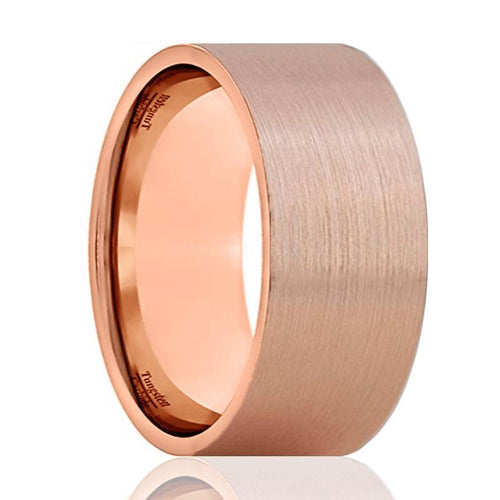 Flat Rose Gold Brushed Tungsten Carbide Wedding Ring - AydinsJewelry
