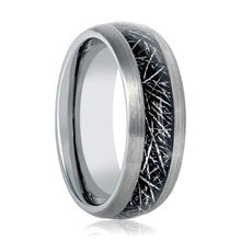 Aydins Mens Tungsten Wedding Band Ring w/ Black Meteorite Inay 8mm Tungsten Carbide - AydinsJewelry