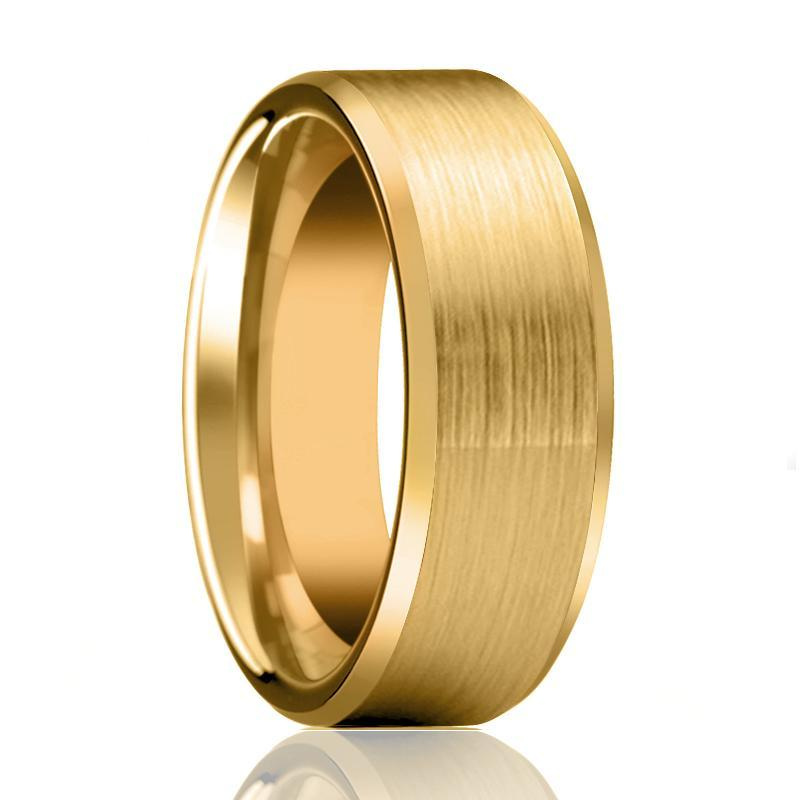Aydins Gold Brushed Flat Tungsten Ring Wedding Band with Beveled Edge 6mm, 8mm Tungsten Carbide Wedding Ring - AydinsJewelry